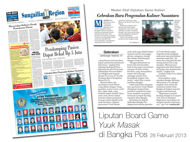 Liputan Board Game Yuuk Masak di Bangka Pos Feb 2013