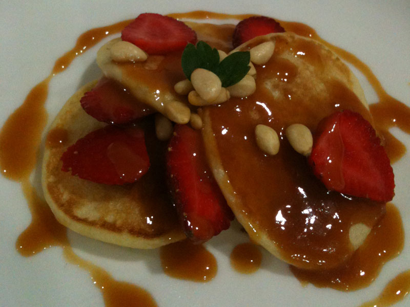 Cassava Blinis with Caramel Sauce & Strawberry