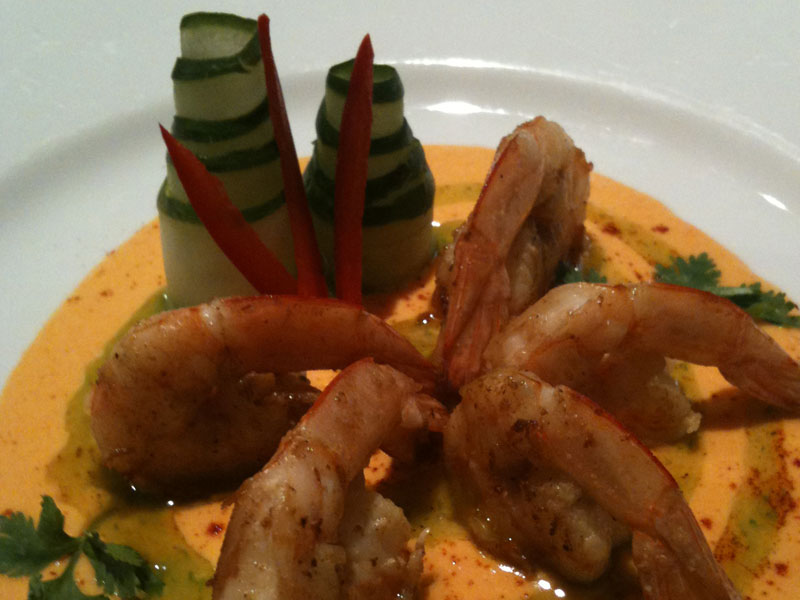 Seared Prawn with Carrot Sauce