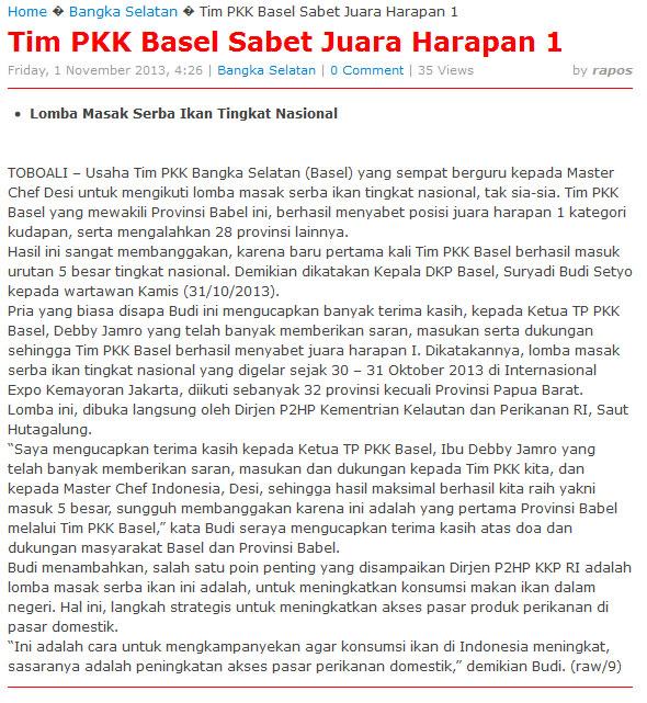 Tim PKK Basel Sabet Juara Harapan 1